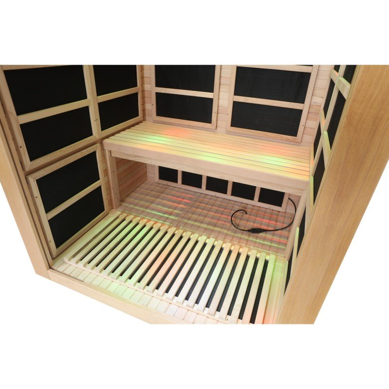 Two Person Infrared Sauna With Carbon Heaters Inside View