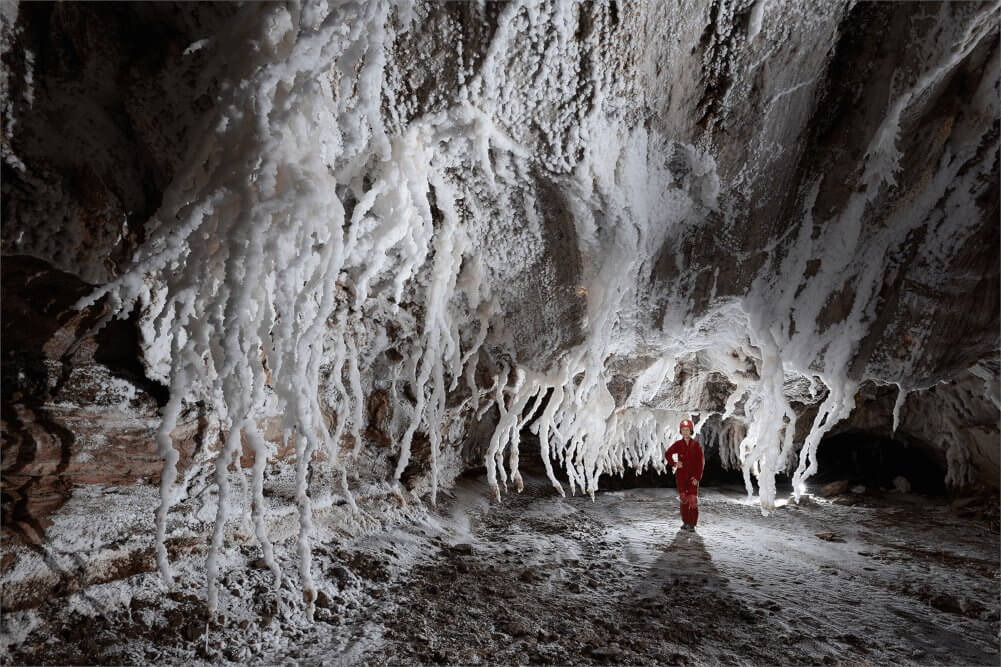Inside Namakdan, the largest salt cave in the world.