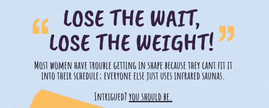 'Lose the Wait, Lose the Weight' Sauna Infographic